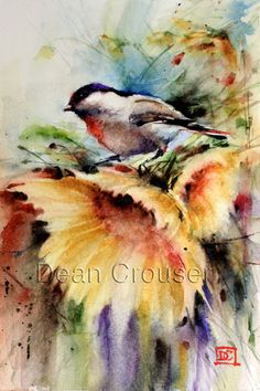 CHICKADEE & SUNFLOWER Watercolor Painting by por DeanCrouserArt