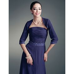 3/4-length Sleeves Chiffon Special Occasion Jacket/Wedding Wrap – USD $ 29.69