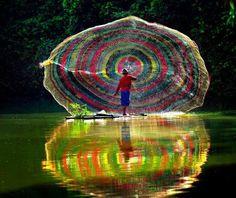 Beautiful ~ Rainbow Fishing Net, Indonesia