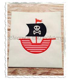$2.95Applique Pirate Ship Machine Embroidery Design