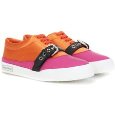 Miu Miu Satin Sneakers ($625) ❤ liked on Polyvore featuring shoes, sneakers, multicoloured, multi color sneakers, colorful sneakers, multicolor sneakers, multi colored sneakers and orange sneakers