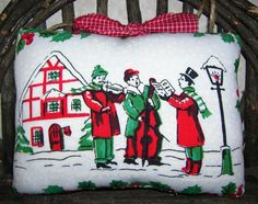 Primitive Christmas Carolers Vintage Recycled tablecloth by auntiemeowsprims on Etsy, $7.99