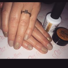 Love These Gold Nails! NSI Polish Pro Shimmering sand gel polish is a perfect gold