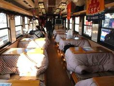 "Sanriku Railway Co, which operates two lines along the beautiful Sanriku coast of Iwate Prefecture, offers passengers the ultimate Japanese winter relaxation experience with their ""Kotatsu Train"", a special two-car train equipped with 12 ""kotatsu"" (low wooden table frame covered by a heavy blanket, upon which a table top sits with built-in heat source underneath), so you can enjoy the scenery pass by from the comfort of your own (simulated) living room."