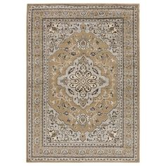 Stylishly anchor your living room seating group or master suite ensemble with this eye-catching rug, showcasing a classic Persian-inspired motif.
