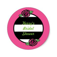 Rose and Stripes Custom Bridal Shower Stickers