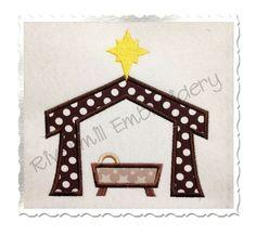 $2.95Manger Nativity Applique Machine Embroidery Design