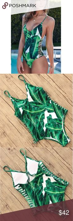 Palm Leaf Printed Monokini Palm Leaf Printed Monokini. Adjustable straps. Fully padded top B Chic Boutique Swim One Pieces