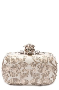 ALEXANDER MCQUEEN 'Classic' Crystal Skull Clasp Box Clutch. #alexandermcqueen #bags #shoulder bags #clutch #crystal #hand bags