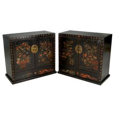 Pair of 19th Century Chinese Painted Two-Door Chests | From a unique collection of antique and modern commodes and chests of drawers at https://www.1stdibs.com/furniture/storage-case-pieces/commodes-chests-of-drawers/