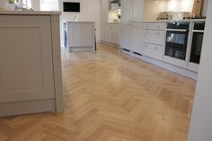 European Oak Herringbone for a Kitchen & Boot Room in Cambridge. The Engineered Oak Herringbone blocks were lacquered with Pallmann Pall-X Pure Lacquer Alcove Shelving, Alcove Cupboards, Kitchen Cupboards, Kitchen Utensil Tray, Utensil Trays, Hardwood Floors, Flooring, Grey Kitchens, Drawer Organisers