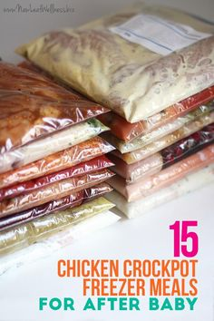 Before my fourth baby was born I decided to stock my freezer with 40 homemade freezer meals. I split the meals into three separate prep sessions so it really wasn't that hard to do. The third session Slow Cooker Freezer Meals, Freezer To Crockpot Meals, Freezer Food, Easy Healthy Crockpot Meals, Freezer Recipes, Meal Recipes, Chicken Freezer Meals, Cooking Chicken Wings, Baby Food Recipes