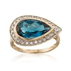 4.30 Carat London Blue Topaz and .25 ct. t.w. Diamond Ring in 14kt Yellow Gold