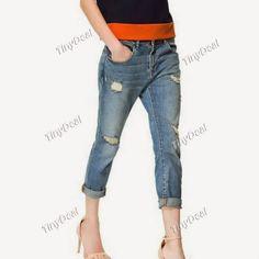 Интернет - магазины : Женская одежда, качественные рваные джинсы для мил...