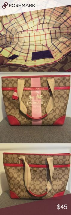 Brown and pink Coach tote In good condition Coach Bags Totes
