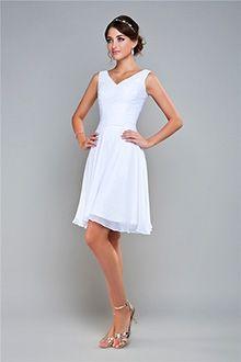Linha-A/Princesa Gola-V Curto/Mini Chiffon Vestidos de Formatura