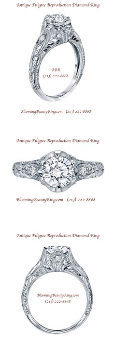 What a gorgeous ring!!  Antique Filigree Diamond Ring Reproduction from BloomingBeautyRing.com  (213) 222-8868  #AntiqueRing #FiligreeRing #DiamondRing