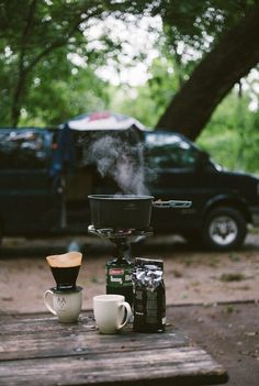 Coffee and Camping - what a concept Camping World, Camping Life, Camping Hacks, Camping Kitchen, Camping Style, Camping Trailers, Beach Camping, Camping Ideas, Camping Photography