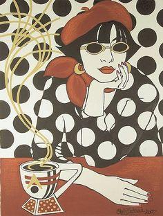 Morsomt eksempel på bruk av negativ/positiv.  Cafe Retro by Artist Shelly Bedsaul