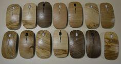 réalisation de 100 souris plaquées en bois : frêne, noyer, buis, et noyer - Hélène Retière