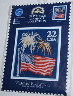 US Postage Stamp Flag Fireworks Counted Cross Stitch Kit 9 5/8 x 11 1/8 DMC #DMC