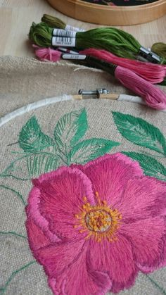 In process... Embroidery on the autentic homespun hemp fabric. This fabric is made by my husband's great grandmother. https://m.facebook.com/story.php?story_fbid=1563048897057620&id=1522565864439257 #PetitcerclebyL #embroidery #decor #flowers