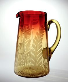 Rose Amber Tankard Pitcher with Engraved Fern Design - 6 inch HOA