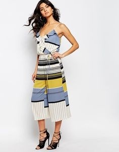River Island Ruffle Stripe Culotte Jumpsuit at ASOS