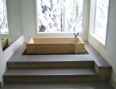 The pleasure of a traditional Japanese bath is expressed with this Ofuro Bathroom design inspiration. This Zen-like, pared-down look from the East will Japanese Soaking Tub Small, Japanese Bathtub, Japanese Spa, Japanese Design, Bathroom Design Inspiration, Modern Bathroom Design, Design Ideas, Bathroom Designs, Bathtub Designs