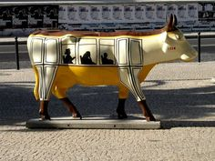 """Lisbon, Portugal - Cows on Parade - """"Electric Cow"""" - 63 life size fiberglass cow statues in 2006 - 101 statues in 2009"""