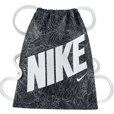 3417bbdfd3b3c Nike Graphic Gym Bag Black White Cinch Sack Youth Kids School Carry Tote  BA5262 for sale online