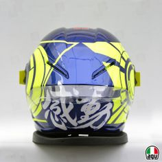 Vale's Pista GP for the winter tests Agv Helmets, Racing Helmets, Biker Accessories, Valentino Rossi 46, Custom Helmets, Vr46, Vr Games, Drone Technology, Motogp