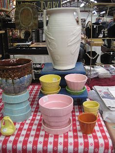 Vintage pottery in pretty pastel colors