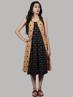 Black Mustard Grey Handwoven Double Ikat Dress With Front Pleats - Pakistani Dresses Casual, Indian Dresses, Designer Wear, Designer Dresses, New Dress, Dress Up, Buy Dresses Online, Maxi Gowns, Asymmetrical Dress