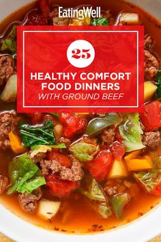 Enjoy one of these comforting dinner recipes made with ground beef. Ground beef is a quick-cooking, budget-friendly protein that works in a variety of dishes including pasta, chili and more. Try recipes like Broccoli, Beef & Tater Tot Hotdish and Mini Meatloaves with Green Beans & Potatoes for a cozy, delicious dinner that you'll turn to again and again. #comfortfood #healthyrecipes #healthycomfortfood #healthyrecipes Healthy Ground Beef, Ground Beef Recipes, Healthy Dishes, Healthy Meals, Enchilada Casserole Beef, Dinner With Ground Beef, Healthy Comfort Food, Broccoli Beef, Comfortfood