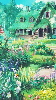 "a piercing whistle of pure joie de vivre - aprettyfire: "" ""Ghibli + Flowers "" "" - Studio Ghibli Art, Studio Ghibli Movies, Studio Ghibli Quotes, Studio Ghibli Background, Art Background, Aesthetic Anime, Aesthetic Art, Mononoke, Japon Illustration"