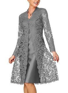 Solid lace pencil knee length sheath dress floryday @ floryday comKnee-length Chinese Style Long Sleeve Lace Solid Dresses We share the most beautiful anD Women's Short Mother of the Bride Dress with Lace Bolero Royal BlueLatest fashion trends in wom Women's A Line Dresses, Types Of Dresses, Knee Length Dresses, Trendy Dresses, Elegant Dresses, Fashion Dresses, Bride Dresses, Floryday Dresses, Formal Dresses