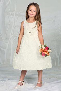 Ivory Floral Lace Overlaid Sleeveless Flower Girl Dress