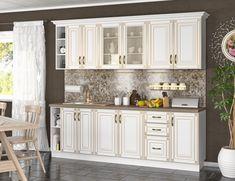 Kuchyňa NINA 240 je vyrobená z veľmi kvalitnej a ľahko udržateľnej LTD dosky. Farba je biela, po obvode skrinky so zlatým ornamentom. Skrinky ozvláštňujú kovové úchytky. #byvanie #domov #nabytok #kuchyne  #kuchynskelinky #modernynabytok #designfurniture #furniture #nabytokabyvanie #nabytokshop #nabytokainterier #byvaniesnov #byvajsnami #domovvashozivota #dizajn #interier #inspiracia #living #design #interiordesign #inšpirácia Kitchen Cabinets, Home Decor, Decoration Home, Room Decor, Cabinets, Home Interior Design, Dressers, Home Decoration, Kitchen Cupboards