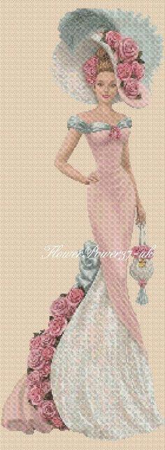 Cross stitch chart Elegant Lady 156n full length Flowerpower37-uk | eBay