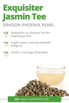 Ein ganz besonders exquisiter Jasmin Tee ist der Dragon Phoenix Pearl. Er hat einen milden, fruchtigen Charakter und ist wundervoll auch als Geschenk für Teefans. Jetzt bei Tea4Chill online kaufen. Jasmin Tee, Oolong Tee, Mate Tee, Dragon Phoenix, Pearls, Breakfast, Gourmet, How To Make Tea, Types Of Tea