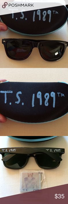 Taylor Swift 1989 World tour sunglasses keychain Brand new, never worn, Taylor Swift 1989 world tour sunglasses. Comes complete with stylish blue and black soft sided case, cleaning cloth and free keychain! Accessories Sunglasses