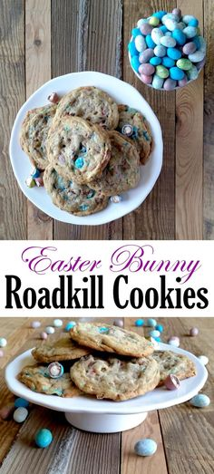 A chewy, malted chocolate egg cookie with crispy edges, this Easter Bunny Roadkill Cookies makes it look like the Easter Bunny has been run over by a truck! Easter Dinner, Easter Brunch, Easter Recipes, Holiday Recipes, Easter Desserts, Best Cookie Recipes, Baking Recipes, Good Food, Yummy Food