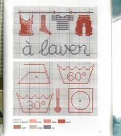 Gallery.ru / Фото #27 - Mots Fendres - Orlanda Cross Stitch Kitchen, Cross Stitch Art, Cross Stitching, Cross Stitch Patterns, Diy Embroidery, Cross Stitch Embroidery, Machine Embroidery Designs, Embroidery Patterns, Laundry Symbols