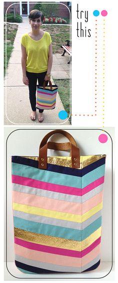 Art-Inspired Chevron Tote Bag #tutorial #patchwork #bag