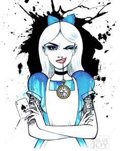 Alice Got Inked: Punk Rock Wonderland Fine Art Print by Leilani Joy Punk Disney Characters, Disney Princess Tattoo, Dark Disney Art, Wonderland Tattoo, Drawings, Alice In Wonderland Drawings, Art, Disney Tattoos, Cartoon Art