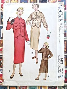 McCalls 9472  Vintage 1950s Womens Suit Dress Pattern by Fragolina, $16.00