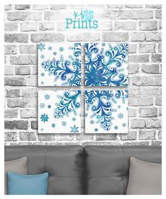 Winter Home Decor / Snowflake Wall Art / Winter Wedding Decor / Winter Print / Winter Art / Printable Decor  Capture the feeling of a winter wonderland with this four piece snowflake print set! The icy design perfectly captures the frosty beauty of winter. This set looks incredible hanging on a wall during not only Christmas, but all winter long! Use this set as decorations for your winter wedding. And heres an extra suggestion! This printable set looks incredible pri...