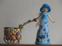 Flower doll with cart needle felted home by Zuzana Hochman of Made4uByMagic on Etsy