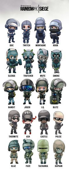 Rainbow Six Siege operator chibis, Arman Akopian on ArtStation at https://www.artstation.com/artwork/2kBrA